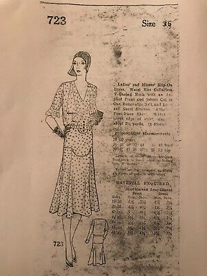 Antique Sewing Pattern- 1920's Day Dress  # 723