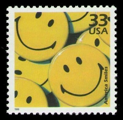 Yellow Smiley Face Happy Face 1970s Happiness Symbol 17 Year Old Mint Stamp