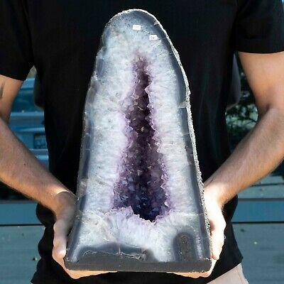 """Cathedral Amethyst Geode Crystal Quartz Large 17"""" Purple White Polished, 40 LBS!"""