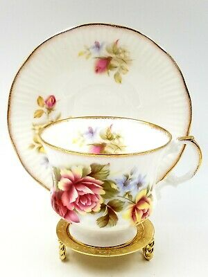 Rosina Queens Fine Bone China Footed Tea Cup and Saucer Pink Yellow w/Gold Trim