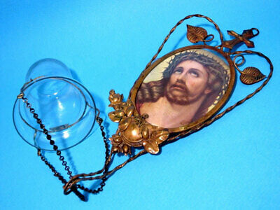 ORIGINAL ANTIQUE Early 1900's. WALL JESUS ICON w/THE LAMPADA JAR!!!