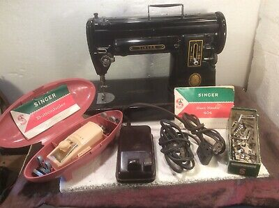 Vintage Singer 301 Sewing Machine 1950s with Attachments And Booklet