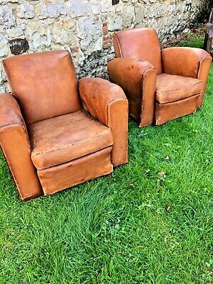Antique french pair of leather club chairs