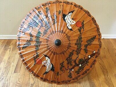 Vintage Umbrella with Cranes Hand Painted Asian Parasol from Philippines 1970