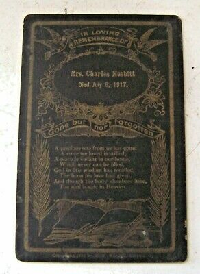 1917 Antique Mourning Death Card Mrs. Charles Nesbitt Funeral Cabinet Memorial