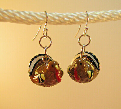 Fun UNIQUE Thanksgiving TURKEY Earrings - 3-D Hand painted Resin rmay609