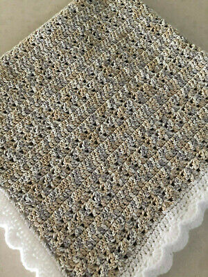 Handmade Crochet Baby Blanket- Pram/Cot Gender neutral Unisex WINTER WEIGHT