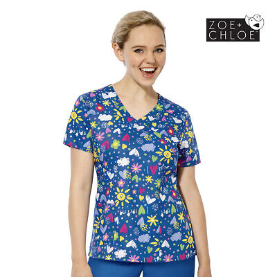Z14202 Womens Blue Printed Flower Scrub Top Nurse Nursing Paediatric Vet Print