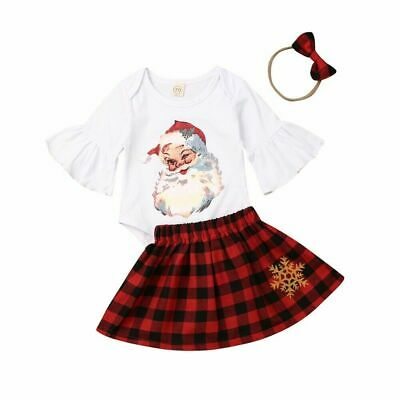 Newborn Baby Girl Christmas Romper Plaid Tutu Skirt Headband Cute Outfit Sets