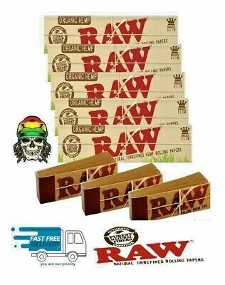 RAW  Organic Hemp Rolling papers King Size Slim 110mm  Authentic & Roach Tips