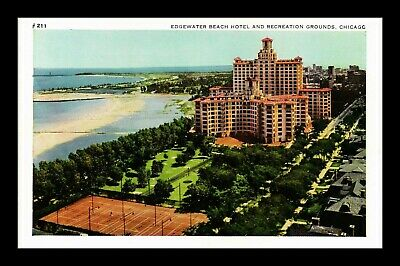 Dr Jim Stamps Us Edgewater Beach Hotel Grounds Chicago Aerial View Postcard