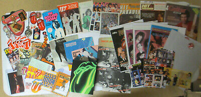 ROLLING STONES Full Table 60pc Lot; Mags Comics Postcards DVDs Jewelry Pins Book