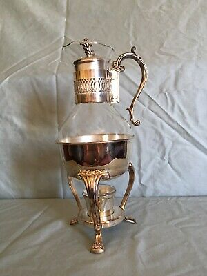 Vintage Glass Coffee Carafe With Metal Stand And Warmer