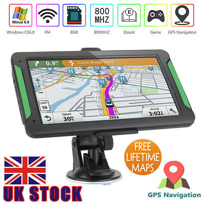 "UK 7"" 8GB Car Truck HGV LGV GPS SAT NAV Navigation + Free UK EU Maps Updates"