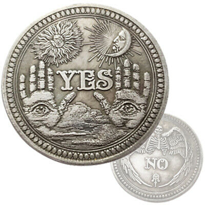New Yes / No Ouija Coin Gothic All  Prediction Seeing Occult Death Angel Gift