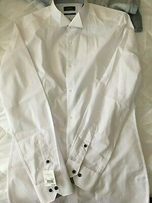 Moss London Extra Slim Fit White Double Cuff Shirt 965205001 VR146 02