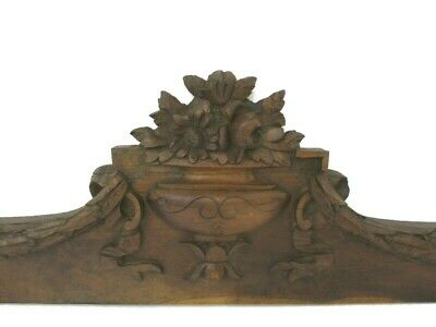 Gorgeous Hand Carved Wood Oak Pediment Ornate Over door Architectural Flowers