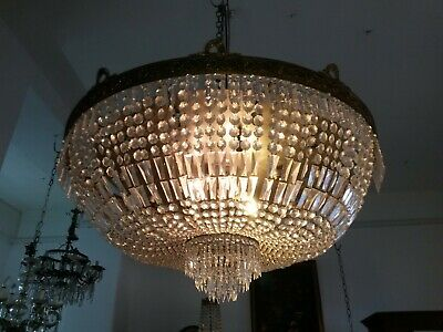 huge old French bronze chandelier 125 cm!