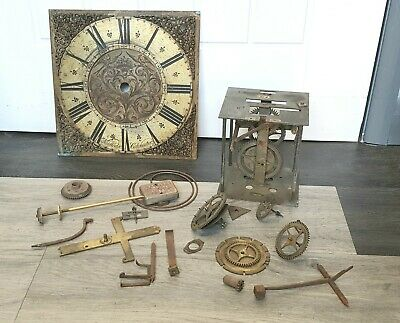 Antique Brass Grandfather Face &  Movement for  Nathaniel Hedge Long Case Clock.