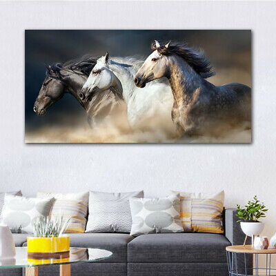 Canvas Painting Oil Painting Three Horses Running Prints Arts Home Decor Posters