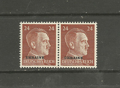 WWII Occupation by Germany ADOLF HITLER HEAD overprint 24pfg HOR PAIR