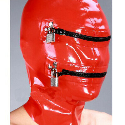 100% Rubber Latex Gummi Maske Rot Zipper Mask Hood Cosplay Masque 0.4mm S-XXL
