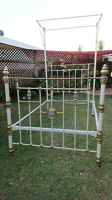 Antique brass Porcelain bed with Sailing Ship centre, ready for restoration