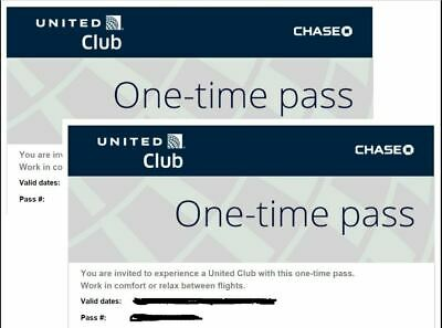 Two (2) United Airlines UA Club Airport Lounge One-Day Pass Passes 9/22/2020