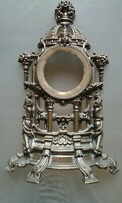 Antique Signed French Ormolu Rococo Brass / Metal Clock Frame