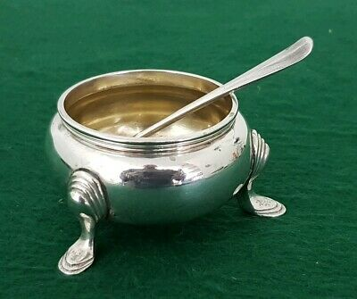 Antique HM 1915 G&S Solid Sterling Silver Salt Cellar & 1911 Spoon