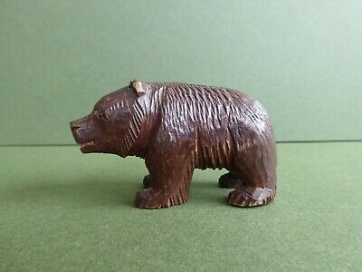 SUPERB Orig Vintage SWISS 'Black Forest' Hand carved WOODEN Miniature BEAR.c1930