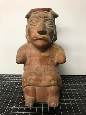 Pre-Columbian JAlisco Seated FEMALE FIGURE With Jug 8.5""