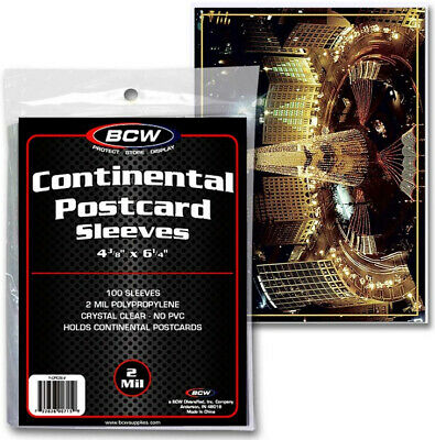 Pack of 100 BCW Ultra Thin Sleeves Continental Postcard Archival Quality Product