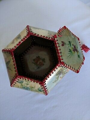 Antique Edwardian Unusual Sewing Box Picturesk Panels Red Stitches