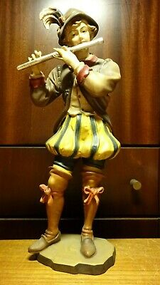"Vintage 12"" Wood Hand Carved  Boy Medieval Musician + Flute Figurine German Gift"