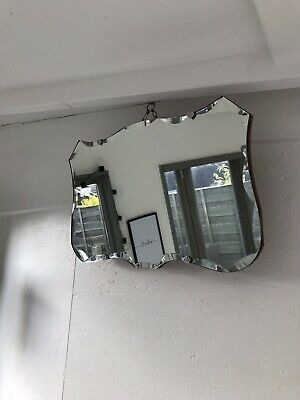 Vintage Mirror art deco beveled edged frameless mirror with Hanging chain