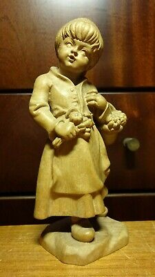 "Vintage 6"" German Wooden Hand Carved Girl Woman Flower Basket Statue Figurine"