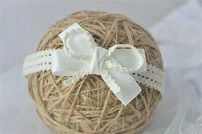 Ivory Baby Bow headband hair band for Baptism Christening lace bow tiara Handmad
