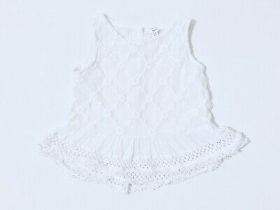 River Island Girls White Top Sleeveless Summer Age 2-3 Years Embroidered Flowers