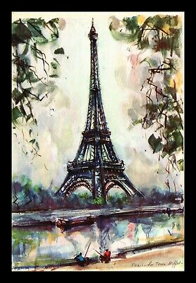 Dr Jim Stamps Eiffel Tower Paris France Topical Continental Size Postcard