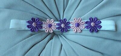 Babies/girls  white Headband with pink and purple flowers