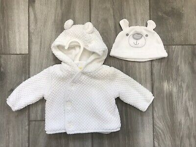 Mothercare White 0-3 Months Baby Coat And Bear Hat. Very Cute. New Without Tags