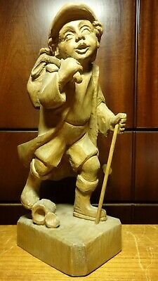 """Antique 11"""" Wooden Hand Carved Wanderer Travelling Boy With Bag Statue Figurine"""
