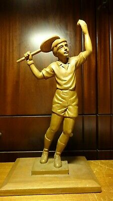 "Vintage 15"" German Wooden Hand Carved Tennis Player Man Statue Figurine Gift"