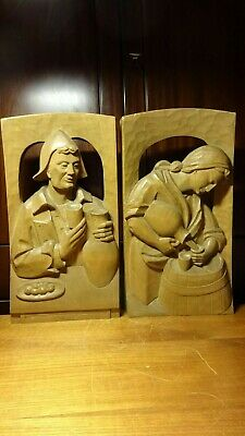 """🗸 Antique 16"""" Pair German Hand Carved Wood Wall Relief """"In The Wine Tavern"""""""