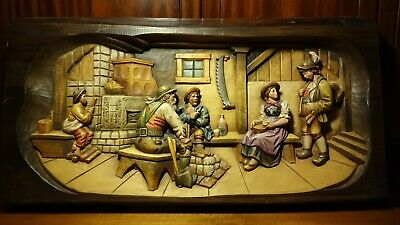 "Vintage Xl  Large 34"" German Hand Carved Wooden Wall Relief Picture ""At The Inn"""