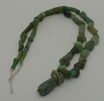 Ancient Roman Green Glass Bead Necklace Circa 2Nd Century Ad  1322