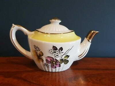 Vintage Gibsons of Staffordshire Miniature Teapot with flowers & gold gilt VGC