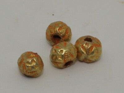 4 X Post Medieval Gold Beads - 014