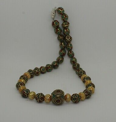 Post Medieval Silver Gilt & Enamel & Gold Bead Necklace